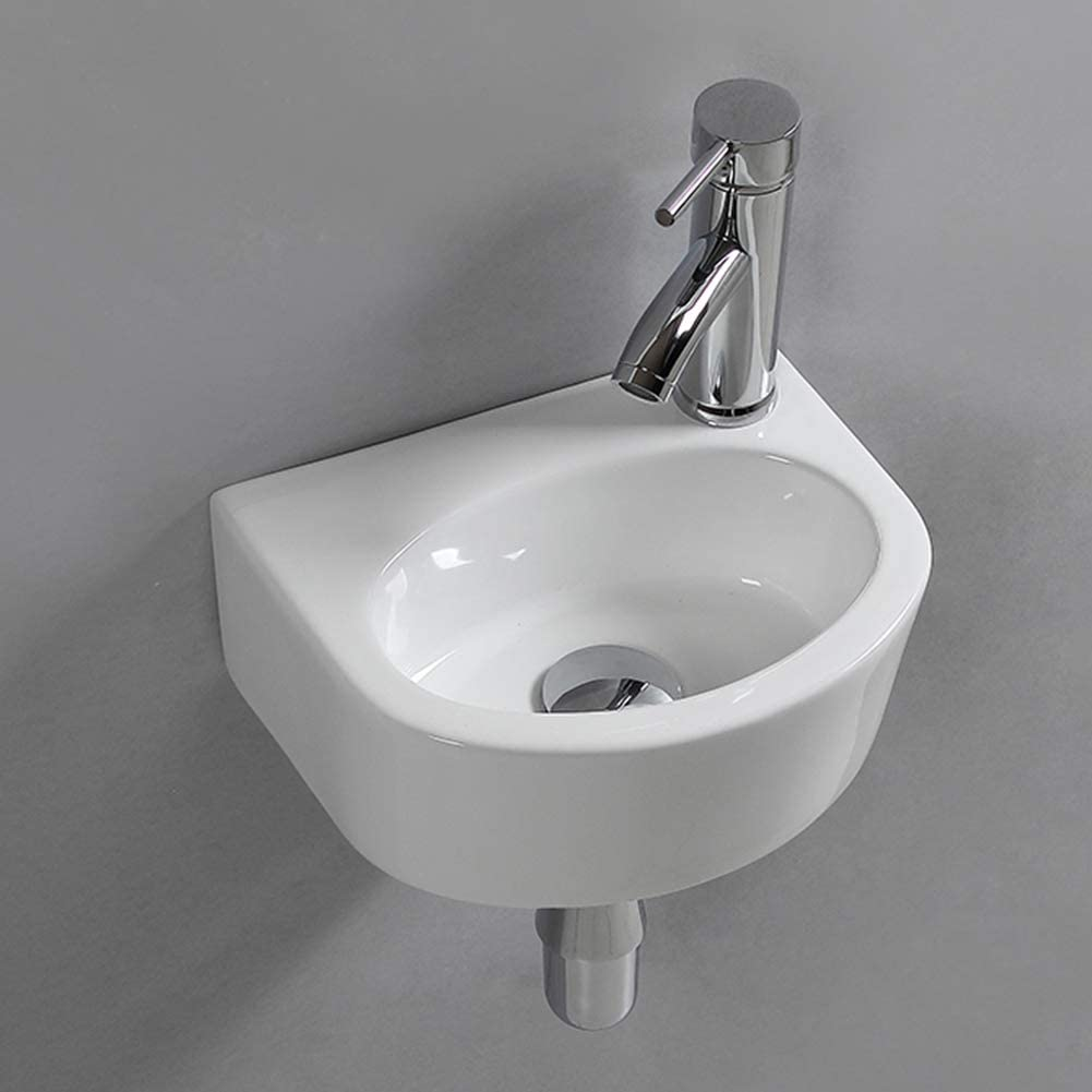 Wall Hung Basin Sink Small Cloakroom Basin Rectangle Ceramic Wash Basin Right Hand (Oval Sink)