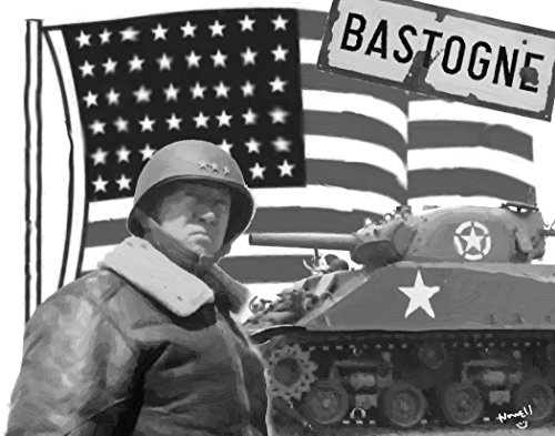 - 16 x 20 Oil Painting Poster Tribute To George Patton Taking Bastogne WORLD WAR II