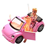 battery barbie car - HoDrme Convertible Princess Car For Barbie Doll With Rotational Steeling Wheel, Removal Seat Belt, Flash Light, Sound Making, Door-Open Function(Doll and Battery Are Included)