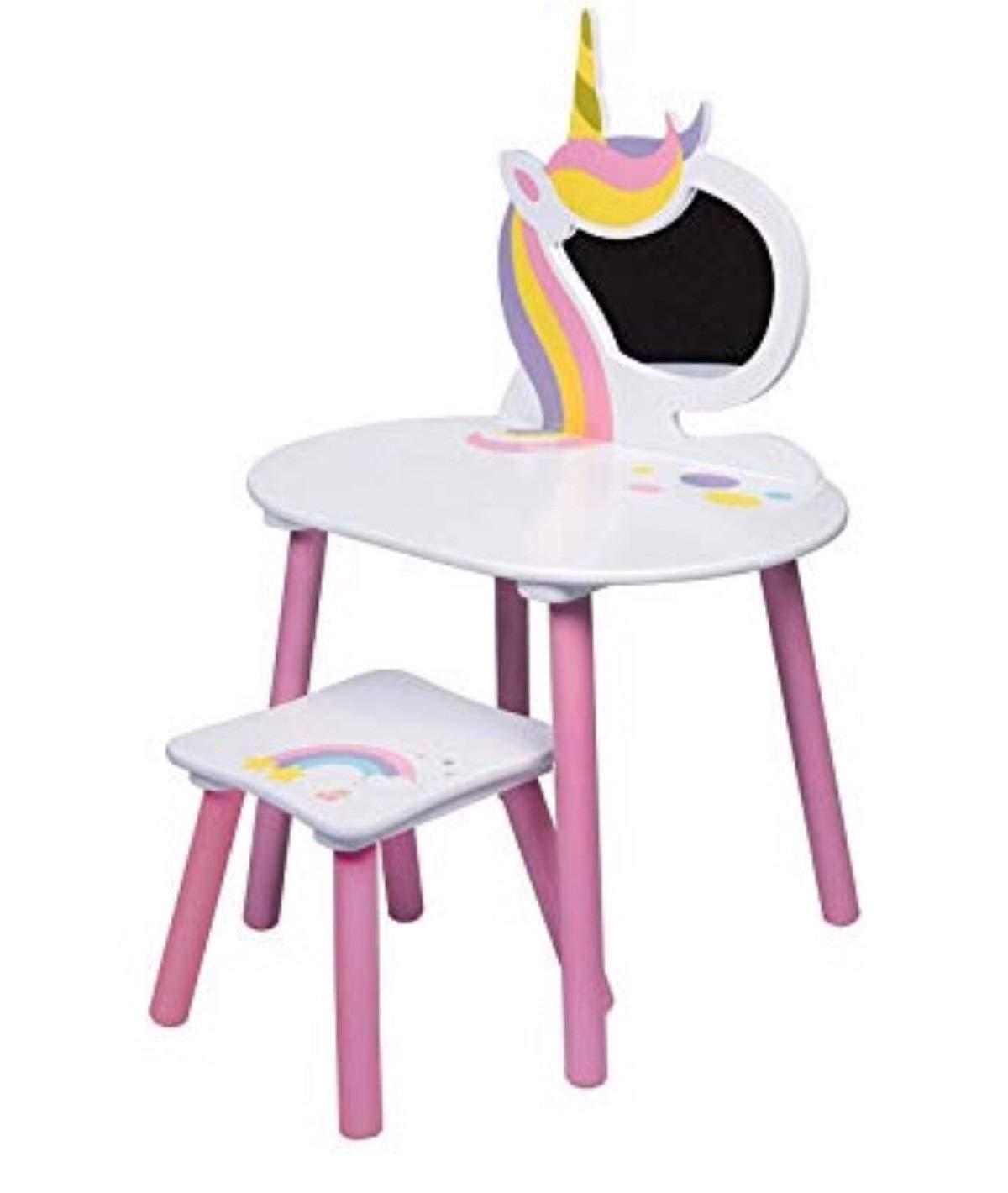 Unicorn Childrens Bedroom Vanity Set with Stool & Mirror Wooden Furniture