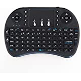 Mini Keyboard with touchpad mouse remote i8 wireless 2.4GHz, Rechargable Battery - Black