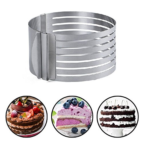 Layer Cake Slicing. Adjustable Cake Ring. Small Cake Ring Mold, Cake Layer Pans Cake, Cake Ring Cutter, Mousse Cake Ring, Layer Cake Slicer, 5.9 -7.87 inch. (Birthday Cake Slicer compare prices)