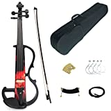 Kinglos 4/4 Red Fire Colored Solid Wood Intermediate-B Electric / Silent Violin Kit with Ebony Fittings Full Size (DSZB0017)