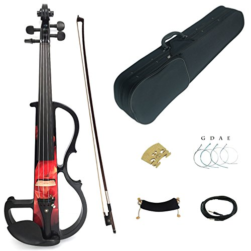 Kinglos 4/4 Red Fire Colored Solid Wood Intermediate-B Electric / Silent Violin Kit with Ebony Fittings Full Size (DSZB0017) by Kinglos