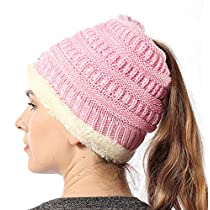 FLY HAWK Women Knit Beanie Hat Soft Warm Liner Winter Messy High Ponytail Skull Cap