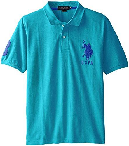 U.S. Polo Assn. Men's Solid Short Sleeve Pique Shirt, Veranda Blue, X-Large