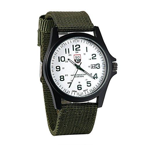 JewelryWe Men Women Quartz Watch Analog Round Dial Nylon Band Sports Outdoor Wrist Watch