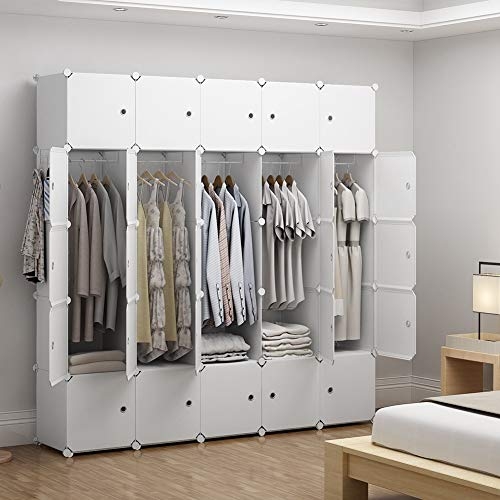 GEORGE&DANIS Portable Wardrobe Plastic Modular Closet Organization Customizable Cube Storage Organizer Bedroom Armoire Dresser, White, 18 inches Depth, 5x5 Tiers