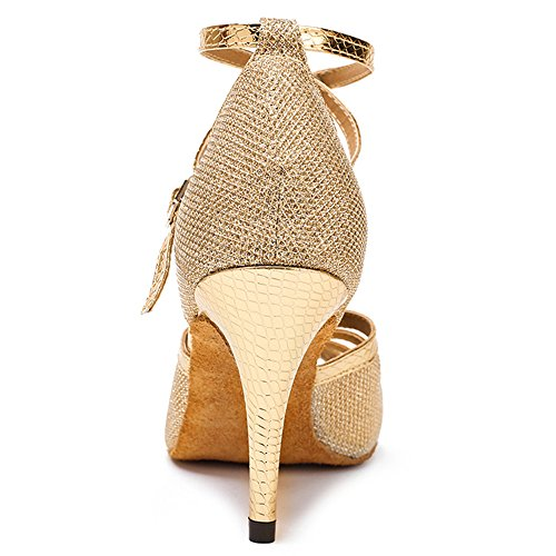 Stiletto Latin Shoes US Dance Glitter Honeystore Party Buckle Metal Peep B Wedding M Heel Toe Gold Shoes 8 Women's xOqwCICU0