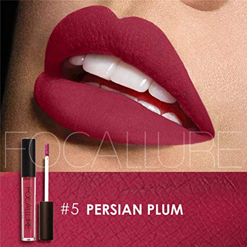 (Matte Lipstick Focallure Purple Plum Stay On Glossier Lip Gloss Long Lasting Colorstay Liquid Waterproof Makeup Shimmer Lipgloss Persian Plum)