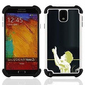 """SAMSUNG Galaxy Note 3 III / N9000 / N9005 - 3 en 1 impreso colorido de Altas Prestaciones PC Funda chaqueta Negro cubierta gel silicona suave (Fútbol Afro"""")"""