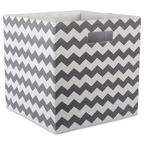 DII Hard Sided Collapsible Fabric Storage Container for Nursery, Offices, Home Organization, (13x13x13) – Chevron Gray