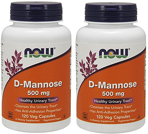 NOW Foods D-Mannose 500 mg, 120 Vegetable Capsule (2 Pack) (Foods 120 Caps)