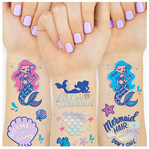 xo, Fetti Mermaid Party Supplies Temporary Tattoos for Kids - 24 Glitter Styles | Mermaid Birthday Party Favors, Mermaid Tail Decorations + Halloween Costume ()