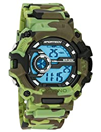 Men's Watches by Sportech - Digital Green Camouflage Water Resistant Sport Watch - Make Every Second Count - SP12401