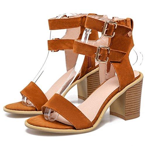 COOLCEPT Mujer Moda Al Tobillo Sandalias Punta Abierta Slingback Tacon Ancho Zapatos Amarillo