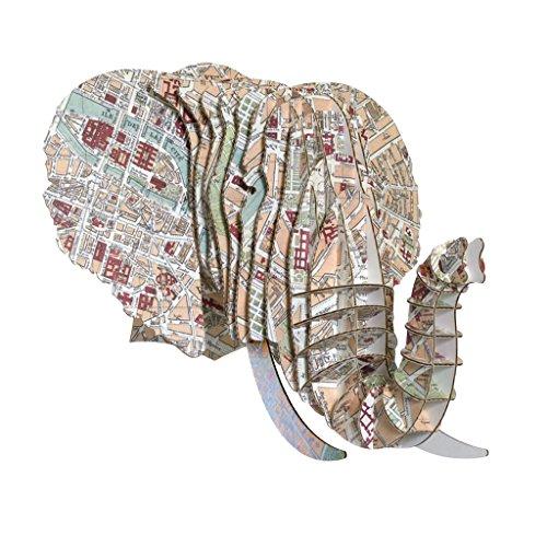 Vintage Map Prints Cardboard Elephant Heads (Paris)