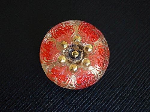Czech Glass Button, hand painted, size 10'', 22.5mm, 1pc