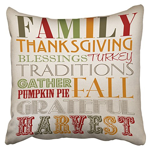 Printable Pumpkin Patterns (Accrocn Decorative Pillowcases Family Thanksgiving Blessings Turkey Traditions Gather Pumpkin Pai Fall Grateful Harvest Printable Decor Throw Pillow Covers Case Cover Sofa Size 18x18 Inches One Side)