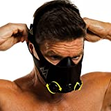Training Mask 2.0-36 Levels of Resistance | Workout Fitness Mask for Running and Breathing Resistance Training, Elevation Mask, Cardio Mask (Black + Turn Flow, Medium)