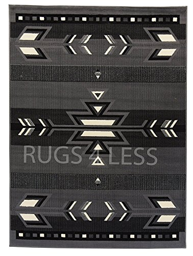 Rugs 4 Less Collection Rustic Southwest Native American Indian Area Rug Navajo Design R4L SW1 Grey (8'x10')
