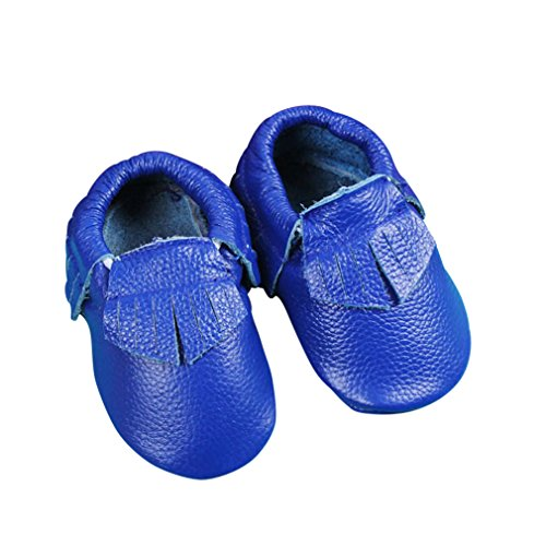 Unique Baby Leather Baby Moccasins Anti-Slip Shoes XXS (4.3 inches) Dark Blue ()