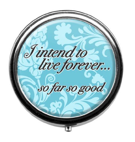 "UPC 758606386485, Trendy ""I intend to live forever...so far so good"" Pill Case Vitamins Organizer Travel Pill Box"
