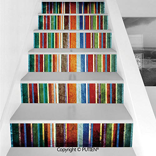 PUTIEN Vintage Stair Stickers Wall Stickers,6 PCS Self-Adhesive [ Stripes,Vertical Lined Colorful Retro -