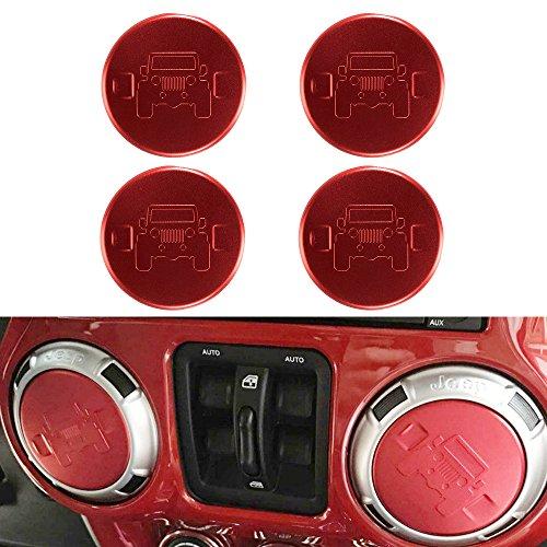 Santu 4PCS Car Air Conditioning Vent Trim Cover Jeep Interior Decoration Accessories for Wrangler JK 2007 UP (Red)