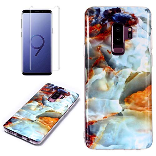 for Samsung Galaxy S9 Plus Marble Case with Screen Protector,Unique Pattern Design Skin Ultra Thin Slim Fit Soft Gel Silicone Case,QFFUN Shockproof Anti-Scratch Protective Back Cover - Fire Cloud by QFFUN (Image #4)