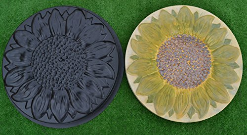 SUNFLOWER PLASTIC MOLD STEPPING STONE GARDEN PATH CONCRETE PLASTER #S18 (Mold Abs Stone Plastic Stepping)