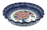 Blue Rose Polish Pottery Blush Bouquet Pie Plate