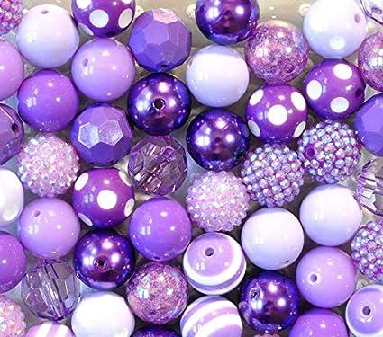 20mm Purple Lavender Chunky Acrylic Bubblegum Beads 52 pc assorted styles