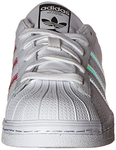 adidas Originals Kid's Superstar J Shoe, White/White/Metallic Silver, 4 M US Big Kid by adidas Originals (Image #4)