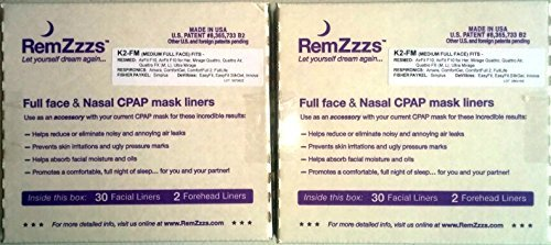 RemZzzs Full Face CPAP/BiPAP Mask Liners - 2-pack - 60 Nights Supply - for ResMed & Respironics (Medium (K2)