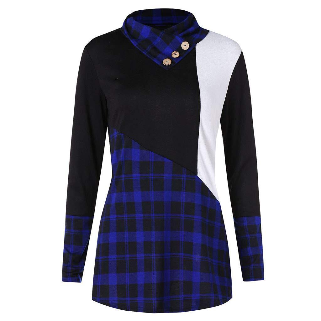 Amazon.com: AOJIAN Blouse Women Long Sleeve T Shirt Button High Neck Plaid Tartan Tops: Clothing