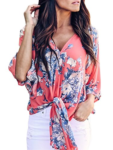 - Ofenbuy Womens Summer Chiffon Blouses Casual Floral Short Sleeve Tie Knot Front Tops Shirts