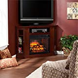 Southern Enterprises Claremont Corner Fireplace TV Stand in Cherry For Sale