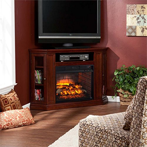 (BOWERY HILL Corner Fireplace TV Stand in Cherry)