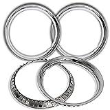 4 Pc Set New 15' Chrome Steel Wheel Trim Rings Beauty Glamour Rim Edge Bands