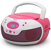 Tyler Portable Neon Pink Stereo CD Player with AM/FM Radio and Aux & Headphone Jack Line-In (TAU105-NPK)