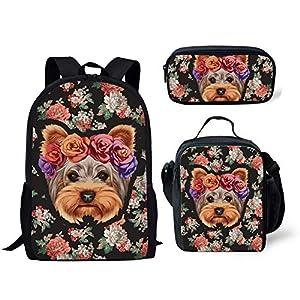 ELEQIN Teens Backpack Set Girls School Bags,Rose Yorkshire Terrier Printed Elementary Student Bookbags Lunch Box Pencil Holder 3 in 1 1