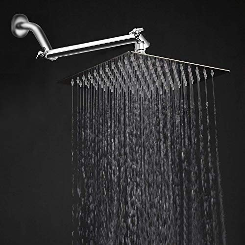 - 10'' Rainfall Shower Head with 11'' Adjustable Extension Arm, HarJue High Pressure Large Stainless Steel Square Rain ShowerHead With Shower Arm Waterfall Full Body Coverage Easy to Clean and Install