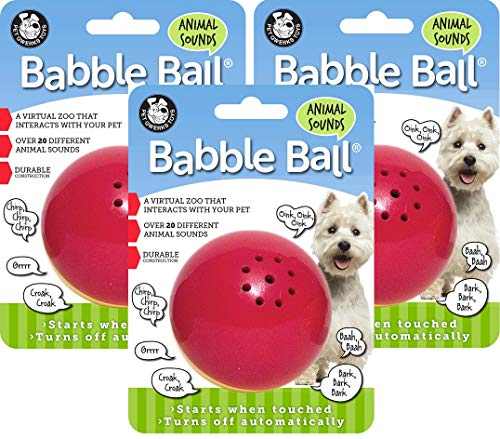 Pet Qwerks 3 Pack of Animal Sounds Babble Ball Interactive Dog Toys, Medium