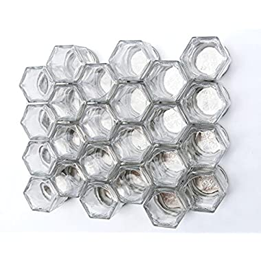 Gneiss Spice DIY Magnetic Spice Rack: Includes Empty Hexagon Jars, Magnetic Lids & Clear Labels (Set of 24, Black Lids)