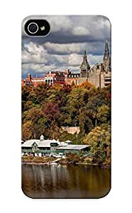 Freshmilk Case Cover Protector Specially Made Case For Iphone 5/5S Cover Georgetown University School College World Architecture Buildings Tower Spire Trees River Lake Shore Autumn Fall Seasons Sky Clouds Leaves Scenic