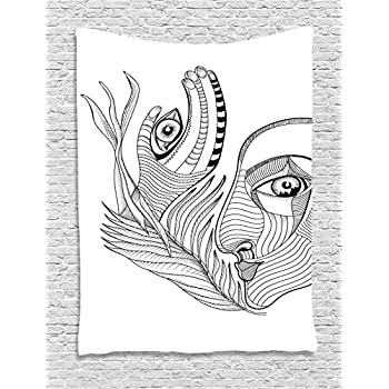 Ambesonne Psychedelic Tapestry, Trippy Abstract Surreal Human Face Figures Mehndi Tattoo Style Spiritual Art, Wall Hanging for Bedroom Living Room Dorm, 60 W x 80 L Inches, Grey Black