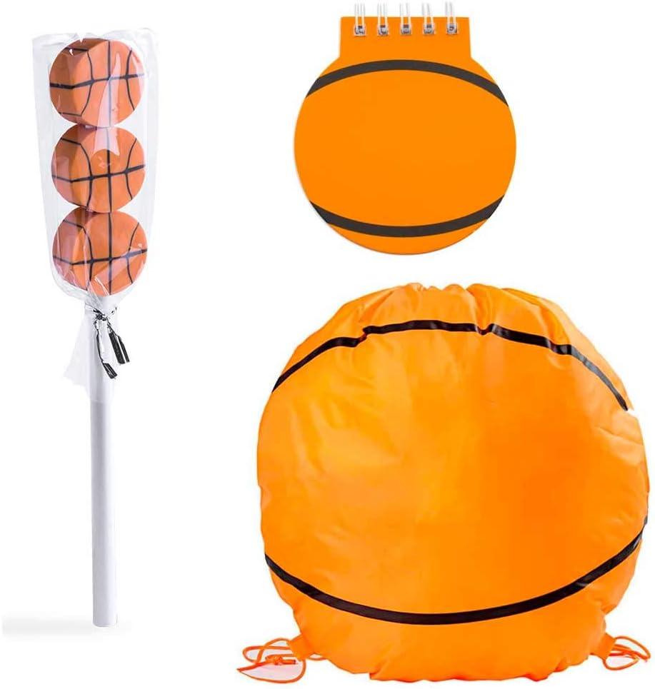 Lote 6 Mochilas, libreta y lápiz con Gomas de borrar diseño Baloncesto. Regalos para Eventos Infantiles. Detalles Bodas, Comuniones, bautizos, cumpleaños Niños