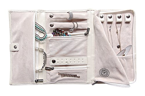 case Elegance Vegan Leather Travel Jewelry Case - Jewelry Organizer [Petite] (Leather Travel Jewelry)