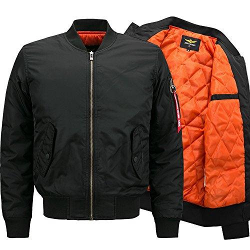 Lanbaosi Men Heavy Flight Bomber Jacket Windbreaker Casual Baseball Coat (Jacket Flight Orange Reversible)